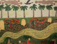 Mendive (Manuel Mendive) #3287. Untitled, 1989. Screen print edition 99 of 100.  19.5 x 25 inches.
