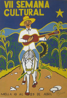 "Luis Rodriguez Arias #3524A.  ""VII Semana cultural"", 2002. Silk screen,  27.5 x 19.5 Inches"