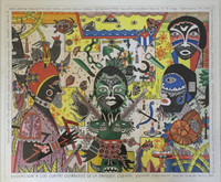 """Elio Vilva #2528. """"Evocacion a los cuatro guerreros,"""" 2001. Mixed media, ink and wash on card stock. 14 x 17 inches."""