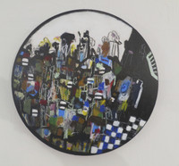 Bernardo Navarro Tomás #6631. Untitled, 2017. Mixed media on wood. 16 inches diameter.