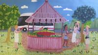"Yumisleydis Lamas (Yumi) #6596. "" El kiosko de la cantina,"" 2015. Oil on canvas. 14 x 24 inches."