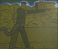 """Carlos Cardenas  #6332. """"Mascara de cocodrilo,"""" 1988. Acrylic on masonite. 20.75 x 24 inches."""