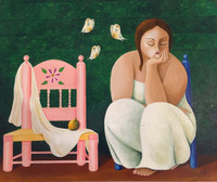 "Arcadio Franco #3859. ""Pensadora con mariposas,"" 2002. Acrylic on canvas, 22 x 26.5 inches."
