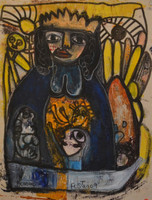 "Fuster (José Rodríguez Fuster) #5041. ""Caridad,"" 2009. Acrylic on canvas. 15 x 11.5 inches."