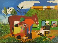 """Luis A. Villalon #1276. """"Hernando el caballito,"""" 1997. Acrylic on canvas. 12 x 16 inches."""