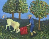 "Reina Ledon Perez #1021. ""Sueno de un campesino,"" 1996. Oil on cardboard. 19.5 x 25 inches."