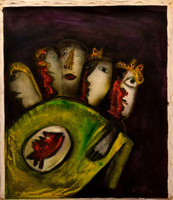 """Untitled by Jose Fuster, #5161. 2009. 29"""" x 25.25"""". Acrylic on canvas."""