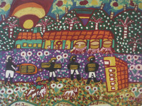 "Abel Perez-Mainegra #1404. ""Transporte de azucar,"" 1997. Acrylic on paper. 13 x 16.5 inches."