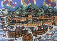 "Abel Perez-Mainegra #1407. ""Santisima Trinidad tercera villa fundada,"" 1995. Gouache on paper. 12 x 16 inches."