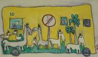 """Untitled by Jose Fuster, #459. 1992. 13.5"""" x 23"""". Watercolor on paper."""