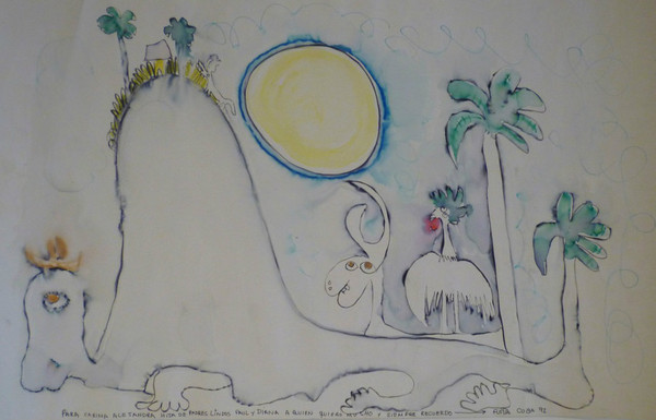 """Untitled by Jose Fuster #3495. 1992. Watercolor on paper. 14"""" x 22.25""""."""