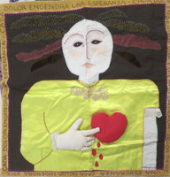 "Alejandrina Cue #6718. ""Dolor engendra,"" N.D. Mixed media fabric collage.29.5 x 29 inches"