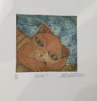 """Guillermo Estrada Viera #8036. """"Bobo,"""" N.D.  Collagraph print artist proof. 7 x 6 inches"""