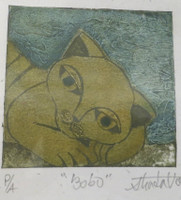 "Guillermo Estrada Viera #8039.  ""Bobo,"" 2014. Collograph, artist proof, 7 x 6 inches.."