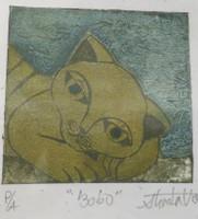 """Guillermo Estrada Viera #8039B.  """"Bobo,"""" 2014. Collagraph, artist proof, 7 x 6 inches.."""