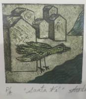 """Guillermo Estrada Viera #8039. """"Santa Fe,"""" 2014. Collograph, artist proof. 7 x 6 inches."""