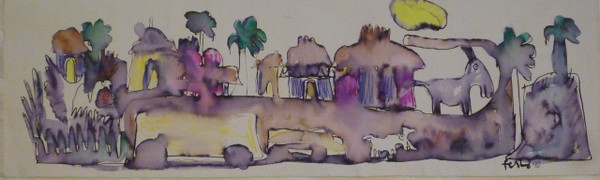 """Untitled by Jose Fuster, #559. 1990. 6.75"""" x 22.25""""."""