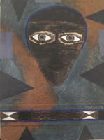 "Mederox (José Mederos Sigler) #5995. ""Mascara Cubana,"" 1994. Mixed media on cardboard, sand and asphalt.  21 x 15.5 inches."