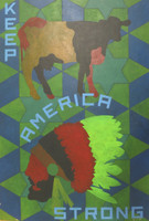 Alexandr Lobaina #6358 (SL) NFS>  Keep America Strong, N.D. Mixed media on heavy paper. 23 x 15.75 inches.