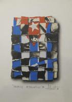 "Adrian Rumbaut #4124 (SL) ""Mosaicos alternativos,"" 1998. Mixed media on paper. 15.25 x 11 inches."