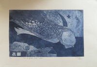 "Sandra Dooley  #7094. ""En el Jardin de la Noche"", 2014. Collagraph print, 14.75 x 21.75 inches."