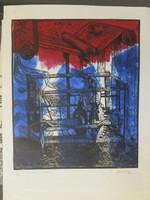 """William Perez #3664. """"El huso y la rueca,"""" 2004. Lithograph print. 19.75 x 15.75 inches."""