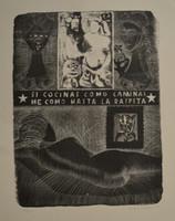 """Leonel Lopez-Nussa  #3778. """"Si cocinas como caminas me como hasta la raspitas,"""" 1979. Etching print edition 10/20.  14.25 x 11 inches."""