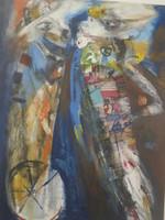 """Lescay (Alberto Lescay Merencio) #6243. """"Velocidad Espiritu II,"""" 2005. Mixed media on canvas. 58 x 43 inches."""