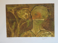 "Sandra Dooley  #7068. ""Gayla,"" 2014. Collagraph print, 9.5  x 13.5 inches"