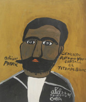"Abel Perez-Mainegra #1848. ""General Antonio Maceo,"" 1999. Acrylic on posterboard. 14.5 x 12 inches."