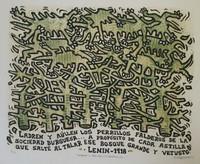 """Alfredo Sosabravo #600 . """"Ladren y aullen los perrillos,"""" 1975. Linoleum print, 2/10.  20 x 24 Inches. SOLD!"""