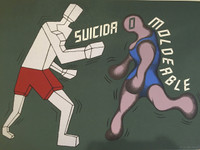 """Carlos Cárdenas #306. """"Suicida moldeable"""", 1988. Serigraph print. 20 x 27.5 inches."""