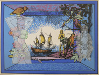 "Raúl Martínez #1415B. ""America,"" 1991. Serigraph print edition 3/120.  19.5 x 27.5 inches."