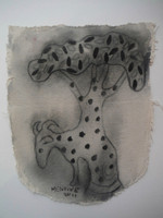 SOLD! Manuel Mendive #5617. Untitled, 2011. Charcoal on canvas. 14 x 11 inches