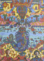 "Vilva (Elio Vilva-Trujillo) #6051. ""Yemaya,"" 2013. Mixed media on canvas. 16.5 x 19.5 inches. SOLD!"