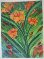 "Tahini #5392. ""Flores en mi jardin,"" N.D. Acrylic on paper. 10 x 7.5 inches."