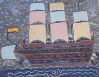 """Manuel Mendive #5645. """"Barco negro,"""" 1979. Reproduced 2012. Print, 91/100, 27.5"""" x 32.5"""""""