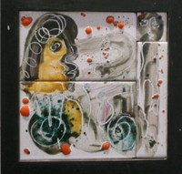 Fuster (José Rodríguez Fuster) #4116. Untitled, N.D. Painted tile. 9 x 9 inches.  SOLD!