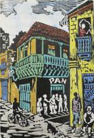 """Raul Morales #6399 (SL) """"La esquina,"""" 2012. Silkscreen print. 9.5 x 5.5 inches."""