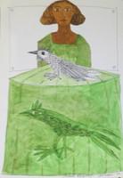 """Montebravo (José Garcia Montebravo)  #1969 (SL) """"Infanta con pajaros,"""" 1999. Ink and watercolor on paper. 14 x 8.5 inches."""