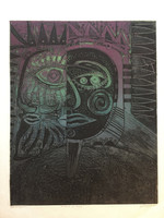"Miguel Angel Lobaina #2393. ""Retrato de reyes,"" 1997. Collograph printe edition 4/5.  19.25 x 15.5 inches."
