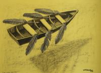 """Camilo Villalvilla #5260. """"En otras aguas,"""" N.D. Charcoal on paper. 190.5 x 27 inches."""