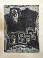 "Jose Vicente Aguilera #2841. ""Santa Nadie,"" 1969. Block print edition 3 of 6.  27.25 x 19.5 inches."
