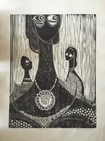 """Jose Vicente Aguilera #2846. """"Tocada del sol,"""" 1994. Block print edition 3 of 4.  27.25 x 19.5 inches"""