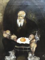 """Olympia Ortiz #2898. """"El huevo 1."""" N.D. Oil on canvas. 13.75 x 12 inches."""