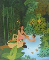 """El Maestro (Luis Rodriguez Arias) #2908. """"Luna de miel,"""" 1999. Oil on canvas. 24 x 20 inches."""