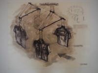"William Perez #3063. ""Ejercicio llusorio, 2002. Watercolor, ink and pencil on paper. 20 x 24.5 inches."
