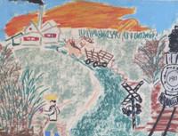 "Raul Gonzalez #3135 (SL) NFS> ""Tonda del mechetro de jesus otra ruiz,"" 1977. Pastel on paper. 18.5 x 22 inches."