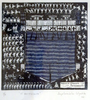 "Anyelmaidelm Calzadilla #3333. "" El recibimiento,"" 2002. Etching print, artist proof.18 x 12 inches"