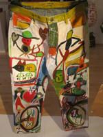 Wayacón (Julián Espinosa) #3373BX. Untitled, N.D. Acrylic on denim jeans. 32 x 32 inches.